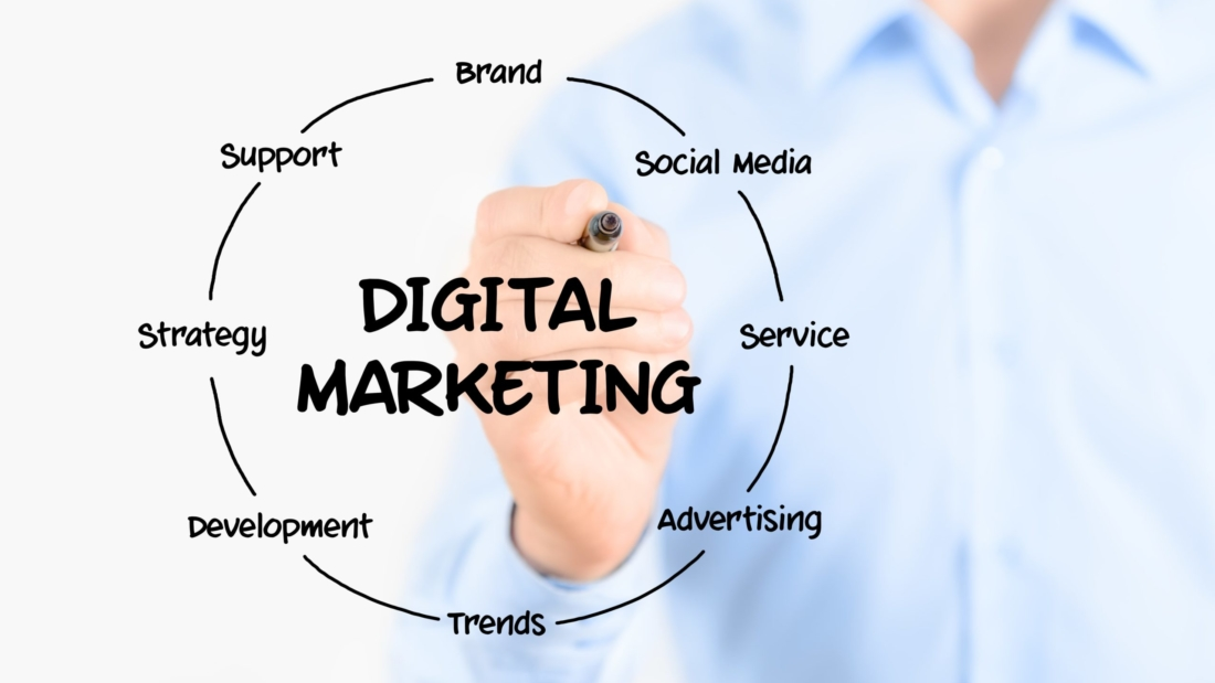 Person drawing out elements of digital marketing