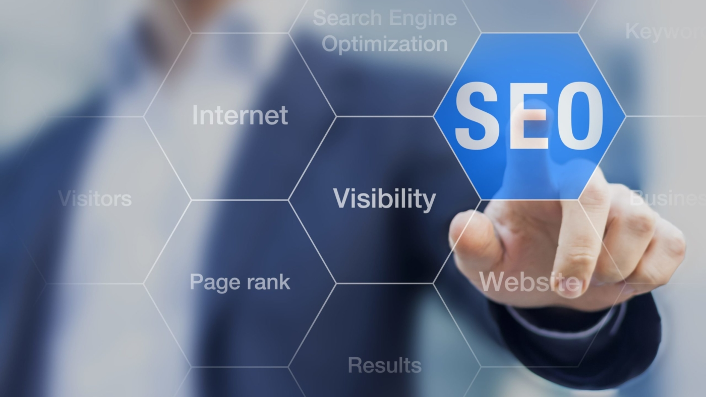 Man pointing to highlighted SEO hexagon
