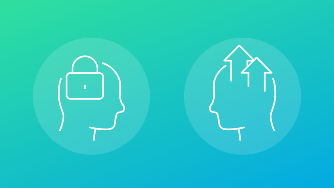 Fixed and growth mindset icons, linear vector